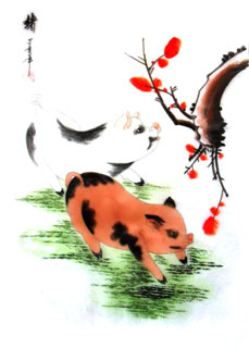 Chinese Pig Painting,30cm x 40cm,4336018-x