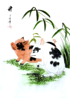 Chinese Pig Painting,30cm x 40cm,4336020-x