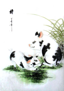 Chinese Pig Painting,30cm x 40cm,4336021-x