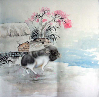 Chinese Pig Painting,66cm x 66cm,4349005-x