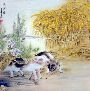 Chinese Pig Painting,69cm x 69cm,4617001-x