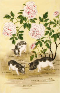 Chinese Pig Painting,69cm x 46cm,4617003-x