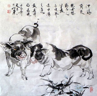 Chinese Pig Painting,69cm x 69cm,4695089-x