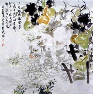 Chinese Pig Painting,90cm x 90cm,4695090-x