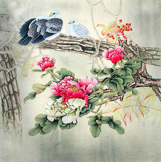 Chinese Pigeon Painting,66cm x 66cm,2324025-x