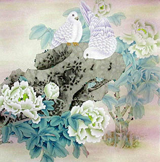 Chinese Pigeon Painting,66cm x 66cm,2324026-x
