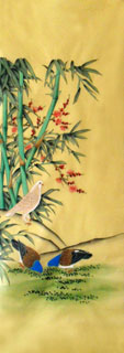 Chinese Pigeon Painting,50cm x 107cm,2336092-x