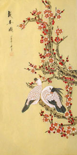 Chinese Pigeon Painting,40cm x 80cm,2336094-x