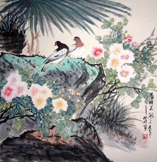 Chinese Pigeon Painting,69cm x 69cm,2423004-x