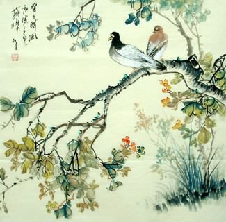 Chinese Pigeon Painting,69cm x 69cm,2423006-x