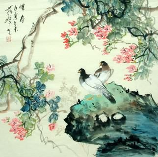 Chinese Pigeon Painting,69cm x 69cm,2423007-x