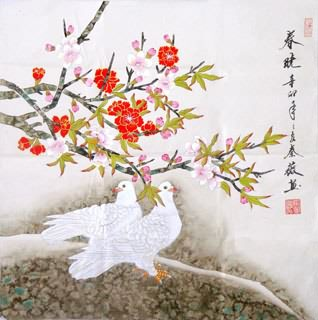 Chinese Pigeon Painting,66cm x 66cm,2527002-x