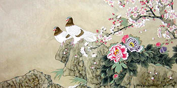 Chinese Pigeon Painting,66cm x 136cm,2574029-x