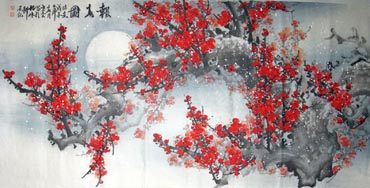 Chinese Plum Blossom Painting,69cm x 138cm,2314008-x