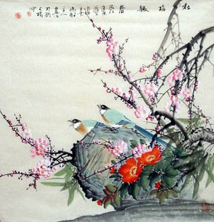 Chinese Plum Blossom Painting,66cm x 66cm,2327001-x