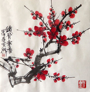 Chinese Plum Blossom Painting,34cm x 34cm,2388122-x