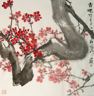 Chinese Plum Blossom Painting,68cm x 68cm,2388142-x