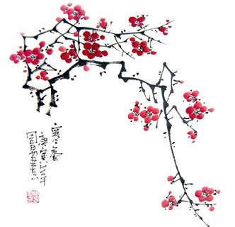 Chinese Plum Blossom Painting,33cm x 33cm,2396004-x