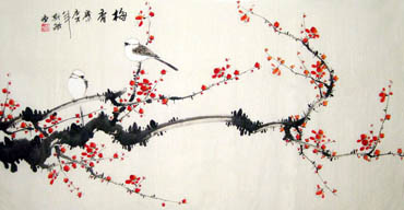 Chinese Plum Blossom Painting,66cm x 136cm,2398001-x