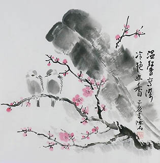 Chinese Plum Blossom Painting,50cm x 50cm,2407010-x