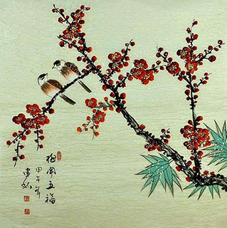 Chinese Plum Blossom Painting,66cm x 66cm,2568007-x
