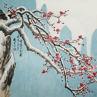 Chinese Plum Blossom Painting,69cm x 69cm,ms21139001-x