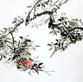 Chinese Pomegranate Painting,69cm x 69cm,2322020-x