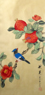 Chinese Pomegranate Painting,25cm x 45cm,2336125-x