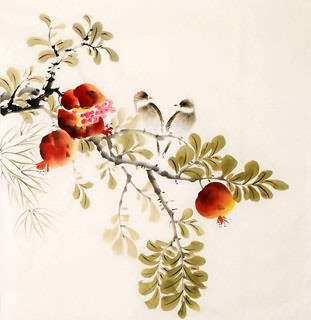 Chinese Pomegranate Painting,50cm x 50cm,2340098-x