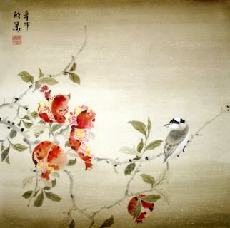 Chinese Pomegranate Painting,50cm x 50cm,2395017-x