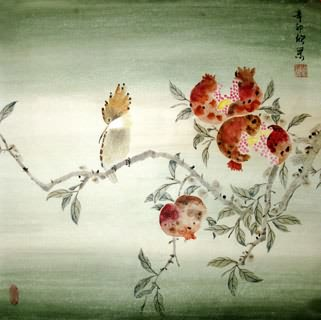 Chinese Pomegranate Painting,50cm x 50cm,2395018-x