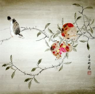 Chinese Pomegranate Painting,50cm x 50cm,2395021-x