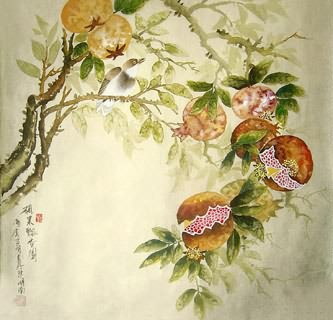 Chinese Pomegranate Painting,66cm x 66cm,2414016-x