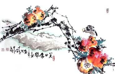 Chinese Pomegranate Painting,34cm x 69cm,2559003-x