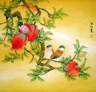 Chinese Pomegranate Painting,66cm x 66cm,2602003-x