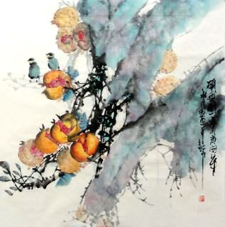 Chinese Pomegranate Painting,69cm x 69cm,2629009-x
