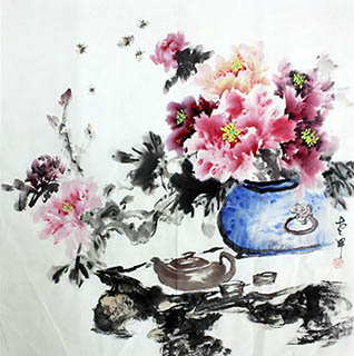 Chinese Qing Gong Painting,68cm x 68cm,2347001-x