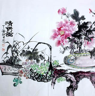 Chinese Qing Gong Painting,68cm x 68cm,2347002-x