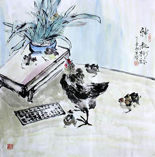 Chinese Qing Gong Painting,68cm x 68cm,2347003-x
