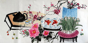 Chinese Qing Gong Painting,50cm x 100cm,2350002-x