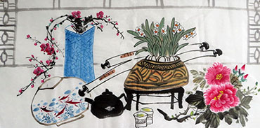 Chinese Qing Gong Painting,50cm x 100cm,2350003-x