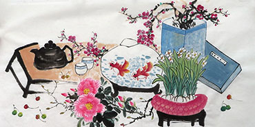 Chinese Qing Gong Painting,50cm x 100cm,2350005-x
