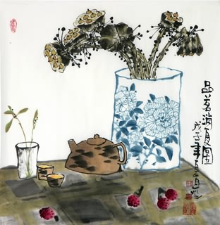 Chinese Qing Gong Painting,50cm x 50cm,2355002-x