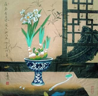 Chinese Qing Gong Painting,69cm x 69cm,2617087-x