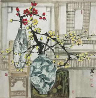 Chinese Qing Gong Painting,69cm x 69cm,wh21079009-x