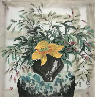 Chinese Qing Gong Painting,68cm x 68cm,wh21079010-x
