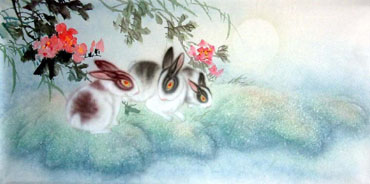 Chinese Rabbit Painting,50cm x 100cm,4351005-x