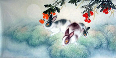 Chinese Rabbit Painting,50cm x 100cm,4351006-x