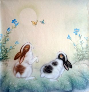 Chinese Rabbit Painting,66cm x 66cm,4351014-x