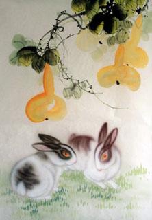 Chinese Rabbit Painting,43cm x 65cm,4351017-x